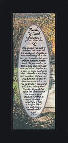 Bands of Gold, 50th Wedding Anniversary Gift Picture Frame, 6x12 7779BC (50th Wedding Anniversary Poem)