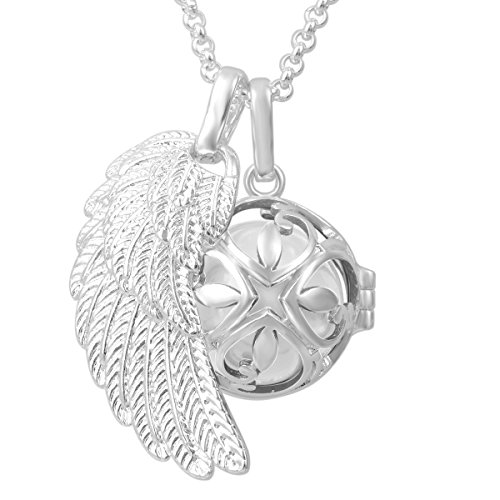 Eudora Harmony Bola Angel Wing Music Ball Pregnancy Pendant Prayer Necklace - White, 30 inches (Painted Pregnant Belly For Halloween)