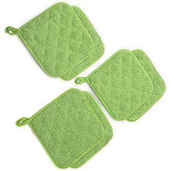 Jennice House Potholders Set, Heat Resistant Hot Pads Mats Coasters Terry Cotton Pot Holders for Cooking and Baking, Set of 6(Green)