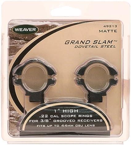 J74 WEAVER GRAND SLAM MATTE BLACK 1/' HIGH .22 CAL ADJUSTABLE MOUNTS