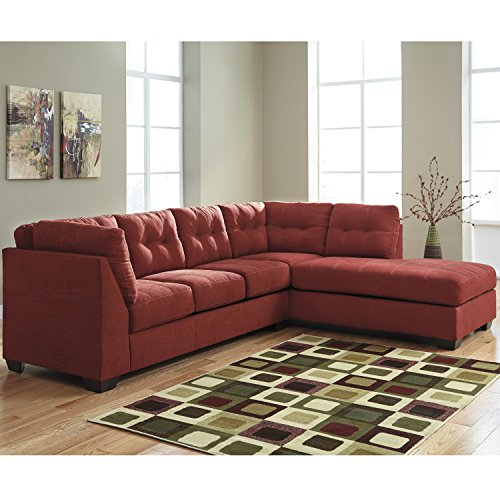 - Flash Furniture Benchcraft Maier Sectional with Right Side Facing Chaise in Sienna Microfiber