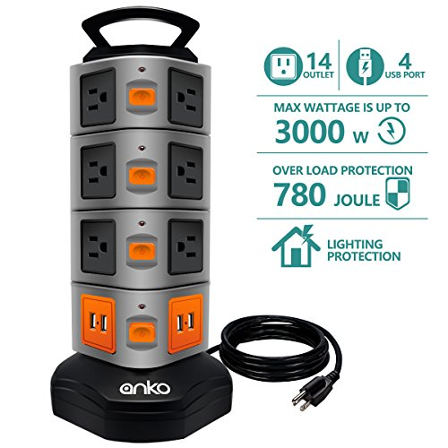 ANKO Power Strip Tower, 3000W 13A 16AWG Surge Protector Electric Charging Station, 14 Outlet Plugs with 4 USB Slot 6ft Cord Wire Extension Universal Charging Station (1 Pack)