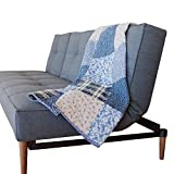 SLPR Blue Symphony Cotton Real Patchwork Quilted Throw (50'' x 60'') | Home Chic Multicolor Decorative Lap Throw Quilt for Bed Couch Sofa