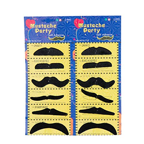 Party Diy Decorations - 12pcs Set Funny Fake Mustache Beard Halloween Costume Party Makeup Props Decoration Black - Gel Psoriasis Growth Soap Joke Gloss Halloween Cosplay Cheeky -