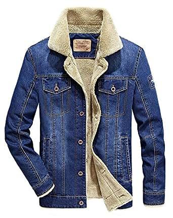 AvaCostume Men's Winter Fleece Lined Fur Collar Denim Jacket Coats Blue01 XS