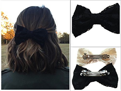 Costumes With Black Hair (Sowing Love Large Lace Hair Bow - Ladies and Girls 5 Hair Bows - Various Colors (Black))