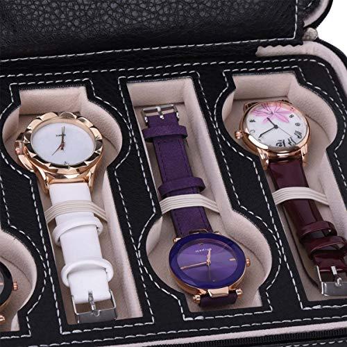 Autoark 8 Slot Leather Portable Travel Watch Case Storage Organizer,Black,AW-034 by Autoark (Image #5)