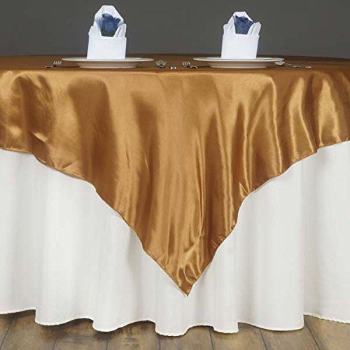 LinenTablecloth 60-Inch Square Satin Overlay Gold -