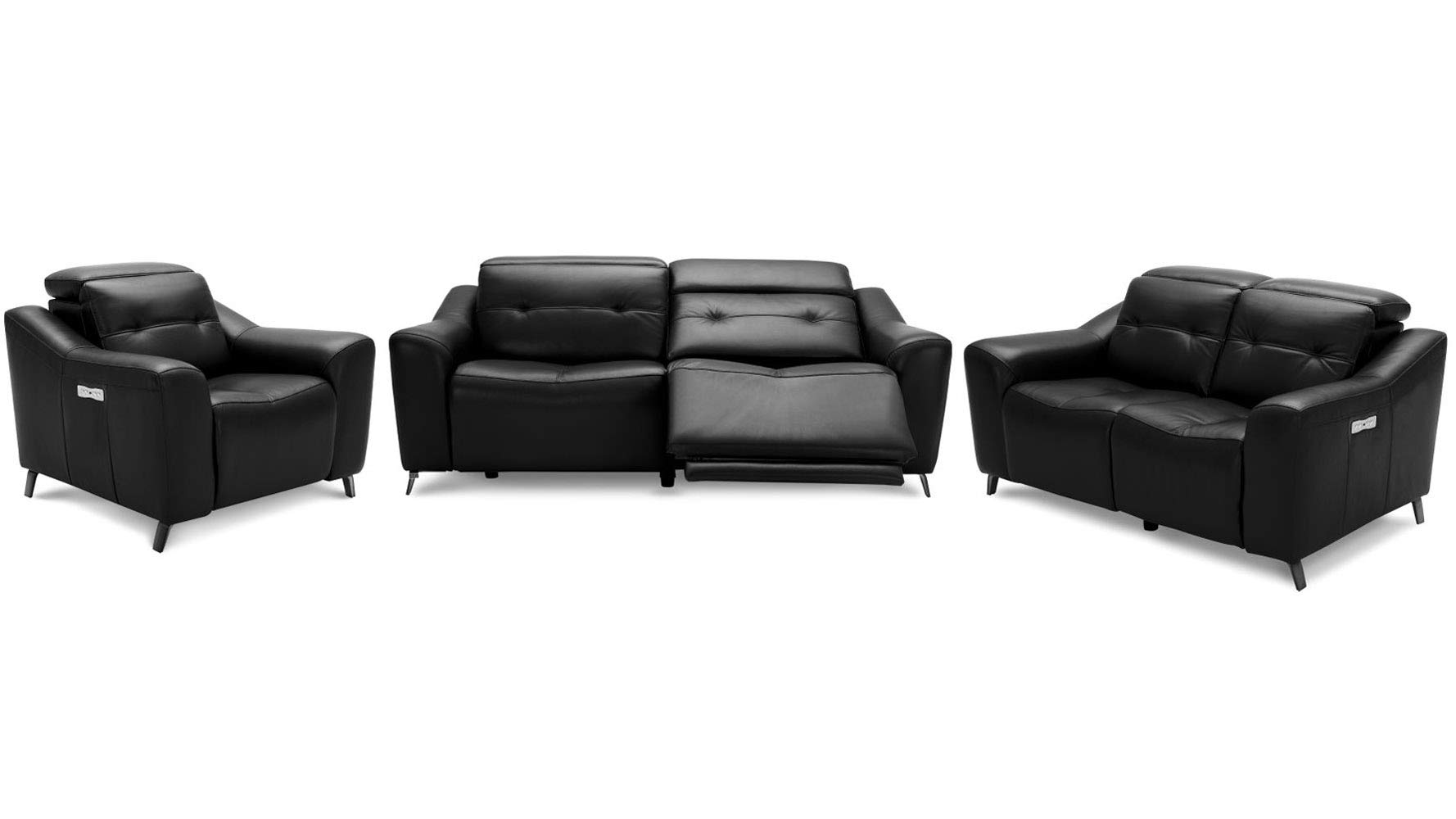 Zuri Furniture Modern Linq Power Reclining Black Leather Sofa Set