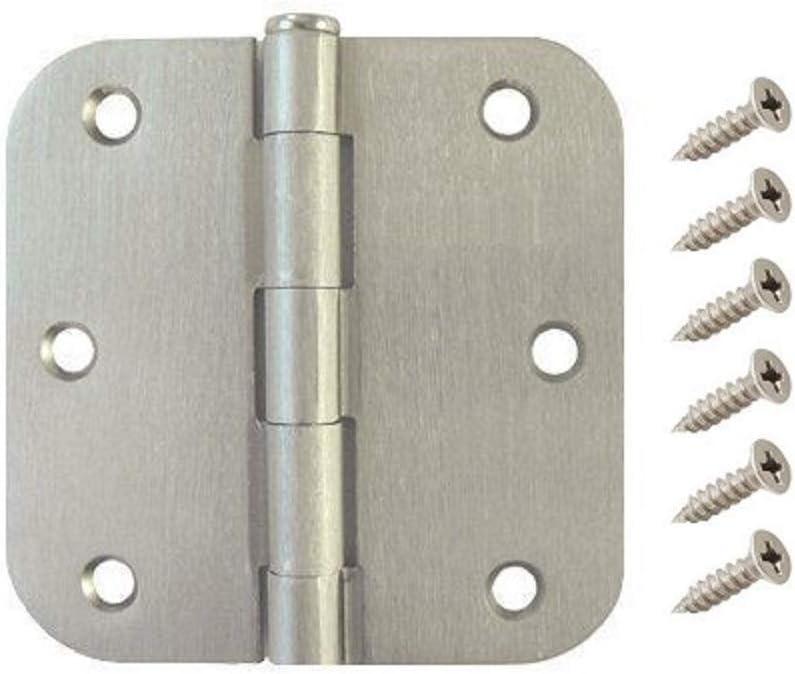 W2Ent 3.5 x 3.5 Satin Nickel Door Hinges with 5//8 Radius Corners Brushed Nickel Pack of 30