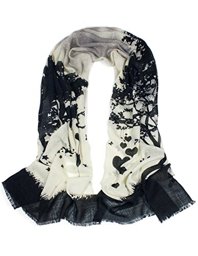 Dahlia Women's 100% Merino Wool Pashmina Scarf - Love Tree - Black