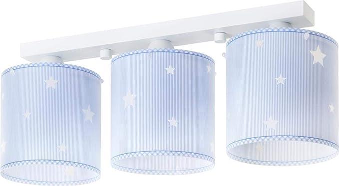 Dalber 62013T Sweet Dreams, Lámpara regleta 3 luces Estrellas azul, E27, Clase de eficiencia energética A++ a C
