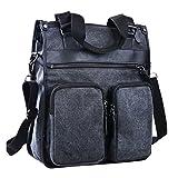 ImIflow Men's Vertical Briefcase Canvas Leather Laptop Shoulder Messenger Tote Bag Handbag for Women 009 Charcoal