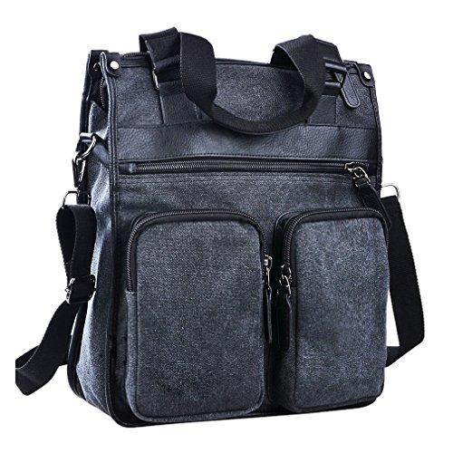 Vertical Leather Bag (ImIflow Men's Vertical Briefcase Canvas Leather Laptop Shoulder Messenger Tote Bag Handbag for Women 009 Charcoal)