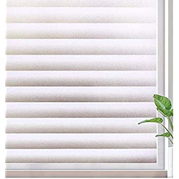 FancyFix Privacy Window Film Stripe Matte Frosted PVC Static Cling Non Adhesive Window Film for Home Living Room Office Kitchen 35.4in x 78.7in