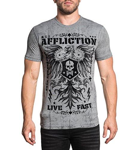 - Affliction Men's Warmachine Silver Grey Reactive Short Sleeve Tee (Medium)