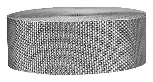 Strapworks Lightweight Polypropylene Webbing - Poly Strapping for Outdoor DIY Gear Repair, Pet Collars, Crafts - 2 Inch x 50 Yards - Silver Gray ()