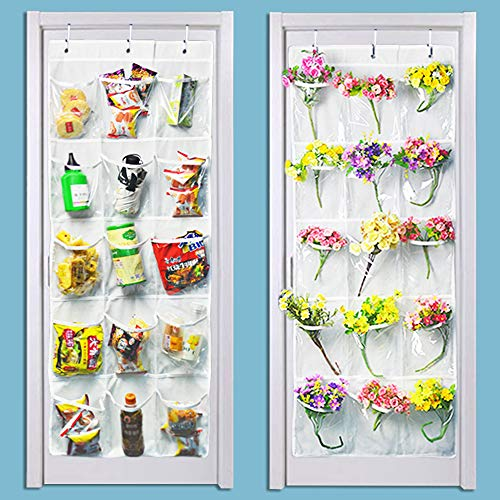 LiyuanQ 2 Pack Over The Door Hanging Pantry Organizer Shoe Organizer - Crystal Clear, White (50 x 20)