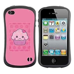Suave TPU GEL Carcasa Funda Silicona Blando Estuche Caso de protección (para) Apple Iphone 4 / 4S / CECELL Phone case / / cupcake cartoon pink muffin polka dot /