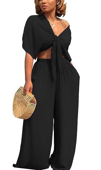 9d2a8d5e5feb7 Amazon.com  LKOUS Womens Summer 2 Pieces Outfits Short Batwing Sleeve Crop  Top Wide Leg Long Pants Clubwear Jumpsuit Set  Clothing