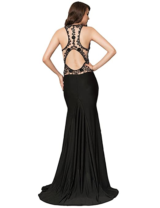 ohyeahlady Women Backless Party Gown Mesh Embroidery Formal Evening Dresses Cocktail Fishtail Maxi Dress Mermaid Evening Gown: Amazon.co.uk: Clothing