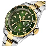 Fanmis Rotatable Bezel Silver Gold Stainless Steel Quartz Waterproof Calendar Luminous Men Watches Green Dial
