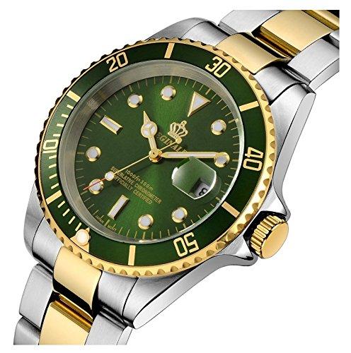 (Fanmis Rotatable Bezel Silver Gold Stainless Steel Quartz Waterproof Calendar Luminous Men Watches Green)