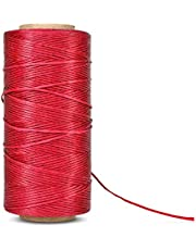 Flexzion Flat Waxed Thread (Red) - 284Yard 1mm 150D Spool Wax String Cord Sewing Craft Tool Portable for DIY Handicraft Leather Products Beading Hand Stitching