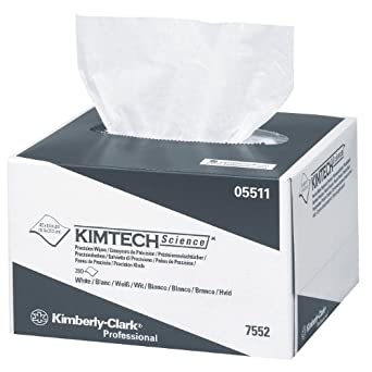 """Kimberly-Clark Kimtech 05511 Science Precision Wipes Tissue Disposable Wiper, 8-25/64"""" Length x 4-25/64"""" Width, White (60 Packs of 280)"""