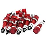 Uxcell 10 Pcs AC/DC 24V 2 Terminals Red Light Signal Threaded Indicator Lamp