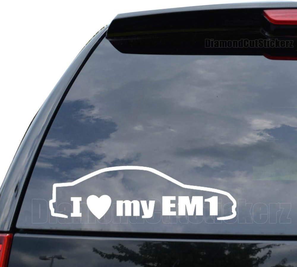 DiamondCutStickerz I Love My EM1 Japanese JDM Decal Sticker Car Truck Motorcycle Window Ipad Laptop Wall Decor - Size (11 inch / 28 cm Wide) - Color (Gloss White)