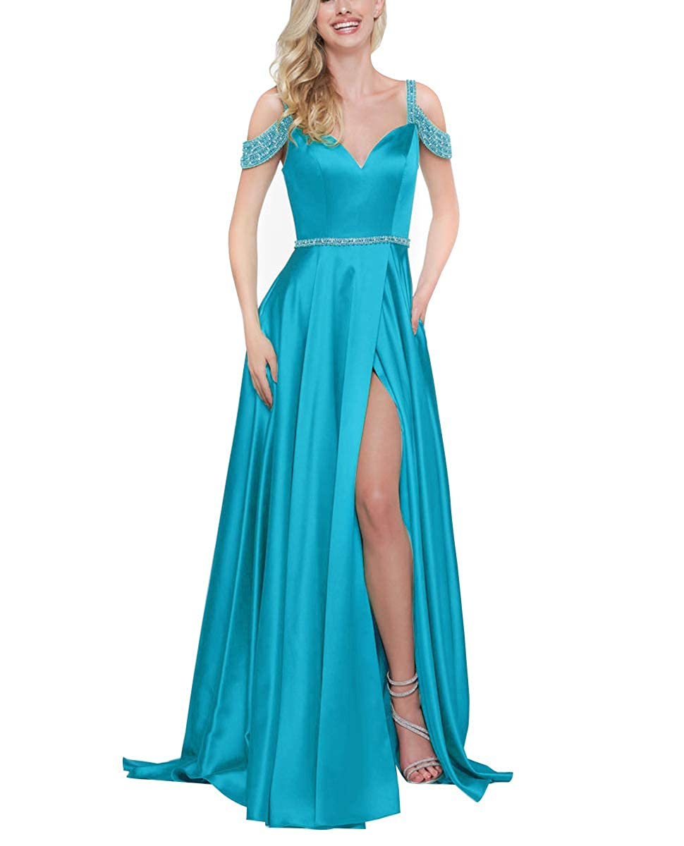 bluee Off The Shoulder Prom Dresses Long Beaded Satin Split Gowns for Womens 2019