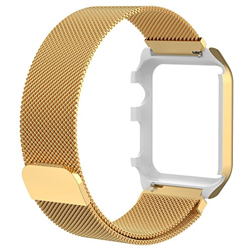PINHEN for Apple Watch Band with Protective Case Strong Magnetic Milanese Loop Stainless Steel Bracelet Replacement iWatch Strap for Apple Watch Series 3 2 1 Nike+ Sport and Edition (Gold, 42MM)