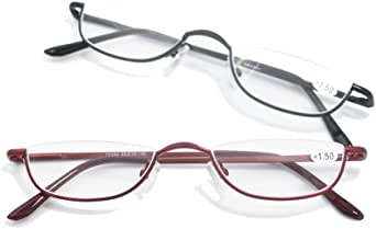Qi Song Retro Half Rim Reading Glasses High quality Metal Frame Eyeglasses Men Women Readers+1.0+1.5+2.0+2.5+3.0+3.5+4.0