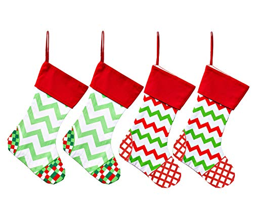 WeiVan Set of 4 Family Christmas Stockings Large Holiday Stocking Cotton Canvas Red and Green Chevron Stripe Christmas ()