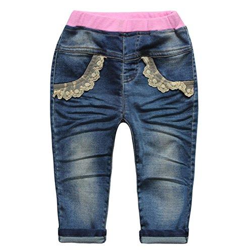 Dragonfly Denim (Little Baby Girls' Jeans Lace Pockets Dragonfly Pattern Denim Pants Size)