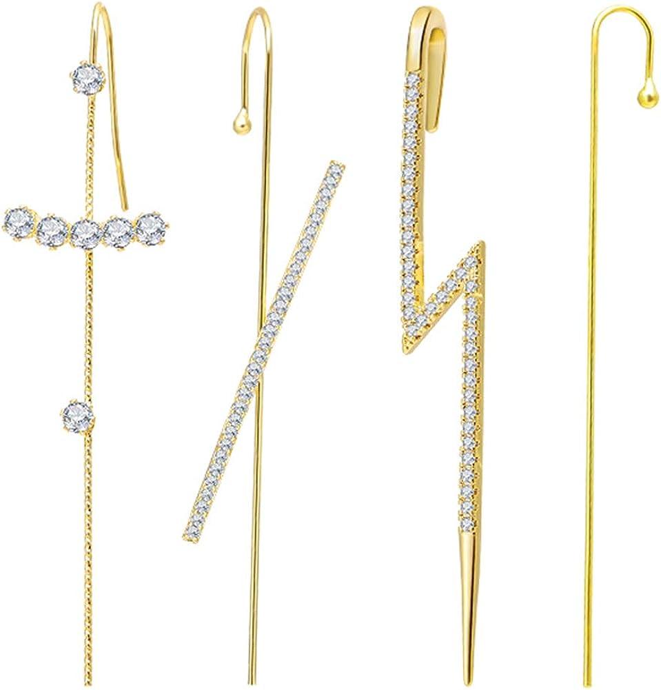 Beautiful and Practical 2021 Pair of Ear Wrap Crawler Hook Earrings, Hypoallergenic Earrings for Women Ear Cuffs Hoop Climber Earrings for Women,Ear Wrap Crawler Hook Earring-Fashion