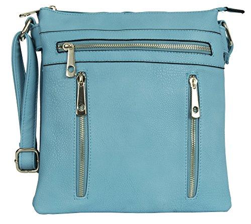 Messenger Sky Cross Size 3 Handbag Bag Design Body Compartment Womens Shoulder Blue Big Shop 2 Medium p6SxXwg6q