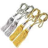 4pcs Window Curtain Tiebacks, Jmkcoz Crystal Tassel Decorative Curtain Holdback Rope Tie Backs Silver Gold