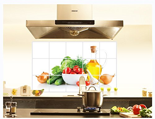 Joycentre Removable Kitchen Oil Proof Decal Sticker Heat-Resistant Waterproof Tile Sticker Aluminium Foil Decals Dining Room Decor (Fruits & Vegetables)
