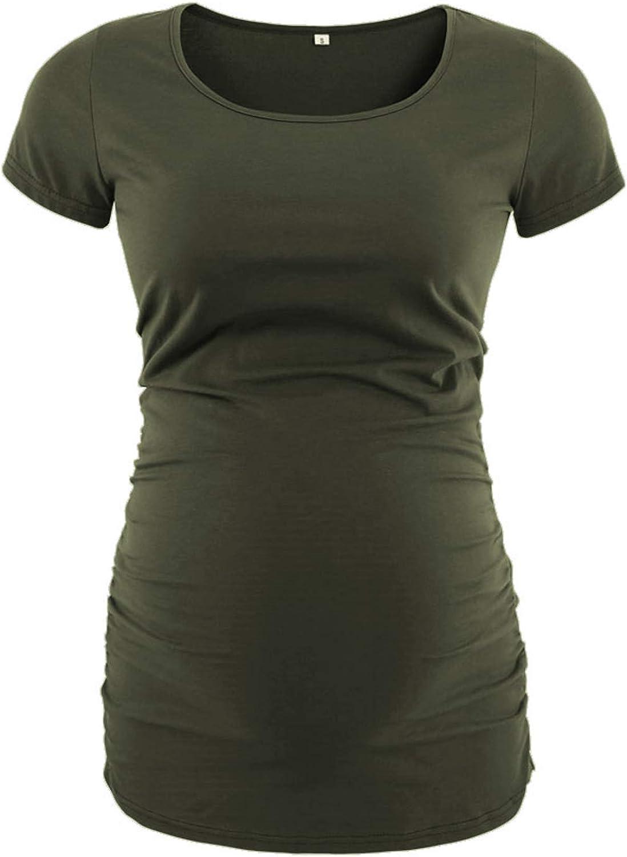 Love2Mi Damen Kurzarm Umstandsshirt Mutterschaft Klassische Seite Geraffte T-Shirt Tops Mama Schwangerschaft Kleidung