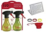 Oil Sprayer Bottle for Cooking, Evo Set Of 2, 8 Ounce Reusable Refillable Spritzer for the Kitchen, BBQ with Funnel, Identification Bands and Informational Card
