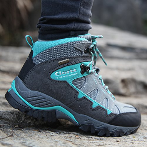 Clorts Shoe Hiker Outdoor Lake HKM823 Boot Waterproof Leather Backpacking Hiking Grey Women's Blue BBTqU