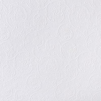 Brewster RD4012 Anaglypta Paintable Floral Scroll Trail Wallpaper, 21-Inch by 396-Inch, White