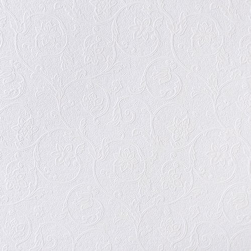 - Brewster RD4012 Anaglypta Paintable Floral Scroll Trail Wallpaper, 21-Inch by 396-Inch, White