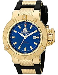 Invicta Mens 1150 Subaqua Noma III GMT Blue Dial Black Polyurethane Watch