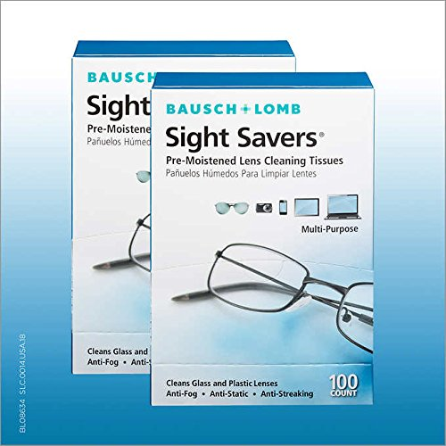 - Bausch & Lomb Sight Savers Premoistened Lens Cleaning Tissues (Large - (100-Count), Pack of 2)