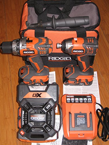 RIDGID 18-Volt X4 Hyper Lithium-Ion Cordless Drill and Impact Driver Combo Kit (3-Tool) with Radio (Set Tool Ridgid Cordless Power)