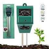 Soil Tester Multipurpose Soil Meter 3-in-1 Meter Test Kits Moisture Light Gauge pH Acidity Detector (Rectangle-Green)