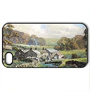 The Farmstead - Case Cover for iPhone 4 and 4s (Farms Series, Watercolor style, Black)
